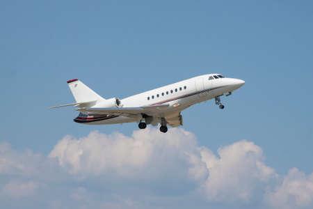 Small business jet takeoff Stock Photo