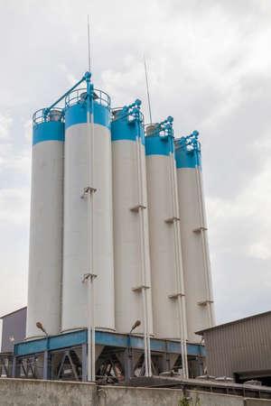 Cement factory silos close up  photo