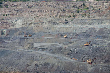 Iron ore opencast mining - the view to the side of the pit
