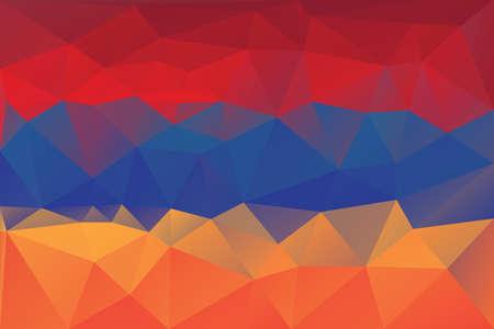armenian: Armenian flag - triangular polygon  pattern Illustration