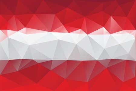 austrian flag: Austrian flag - triangular polygonal pattern Illustration