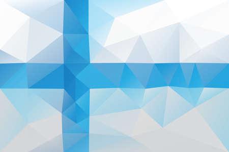 finnish: Finnish flag - triangular polygonal pattern