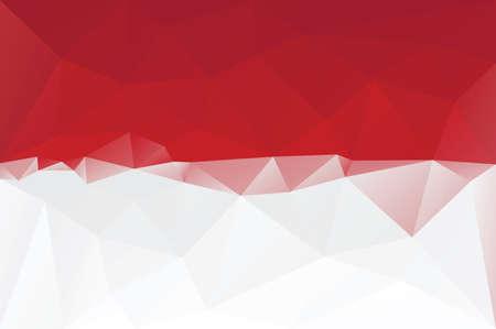 indonesisch: Indonesische vlag - driehoekig veelhoekig patroon Stock Illustratie