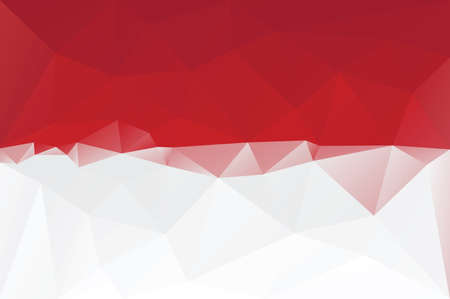 Indonesian flag - triangular polygonal pattern