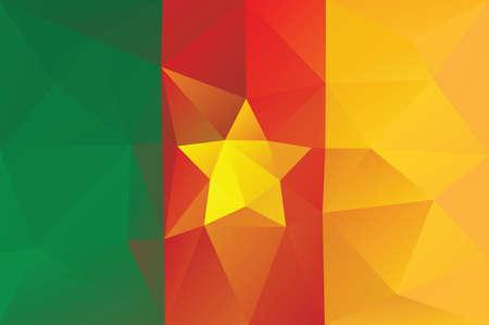 cameroon: Cameroon flag - triangular polygonal pattern Illustration