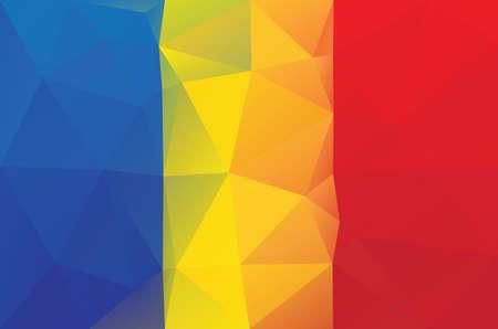 chad: Chad flag - triangular polygonal pattern