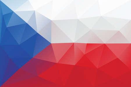 czech flag: Ceca bandiera - triangolare modello poligonale Vettoriali
