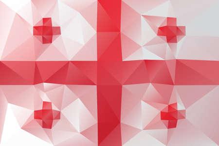 georgian: Georgian flag - triangular polygonal pattern