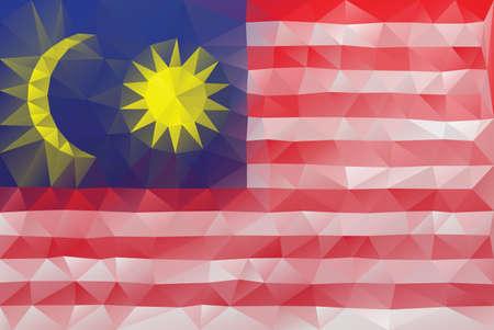 triangular flag: Malaysian flag - triangular polygonal vector pattern Illustration