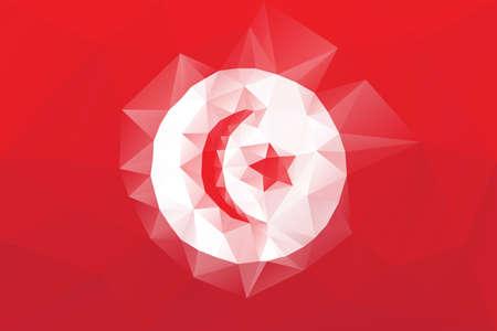tunisian: Tunisian flag - triangular polygonal vector pattern Illustration