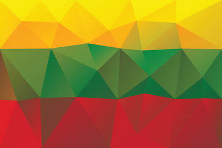 lithuanian: Lithuanian flag - triangular polygonal vector pattern Illustration