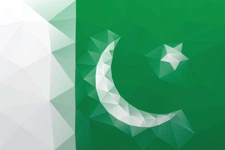 pakistani: Pakistani flag - triangular polygonal vector pattern