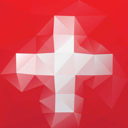 swiss flag: Swiss flag - triangular polygonal vector pattern Illustration