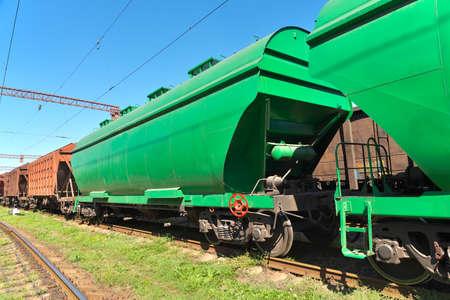 Grain hoppers on the railway track photo