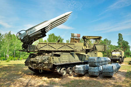 missile: Air defense missile launcher on position Stock Photo