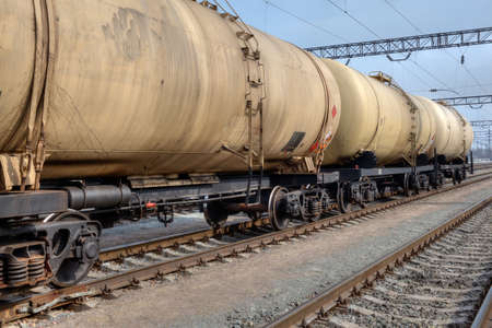 freight train: Train with oil railway cisterns on the freight station Stock Photo