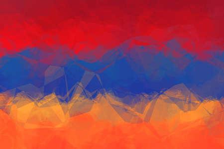 armenian: Armenian flag - triangular polygon  pattern Stock Photo
