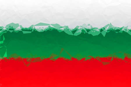 triangular flag: Bulgarian flag - triangular polygonal pattern Stock Photo