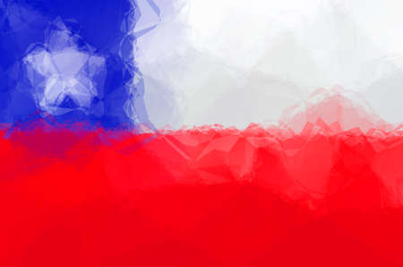 triangular flag: Chile flag - triangular polygonal pattern Stock Photo