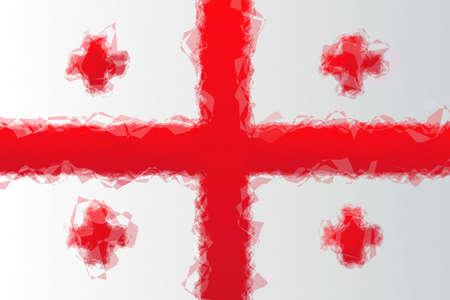 triangular flag: Georgian flag - triangular polygon pattern