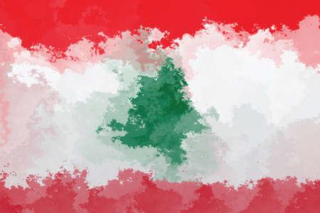 lebanon: Lebanon flag - grunge design pattern Stock Photo