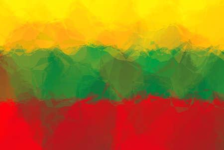 triangular flag: Lithuanian flag - triangular polygonal pattern Stock Photo
