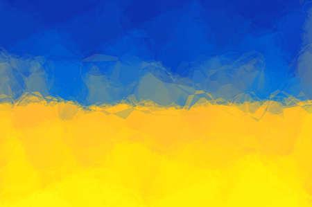triangular flag: Ukrainian flag - triangular polygonal pattern