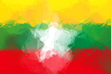 triangular flag: Myanmar flag - triangular polygonal pattern