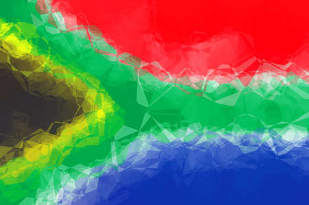 south african: South African flag - triangular polygonal pattern