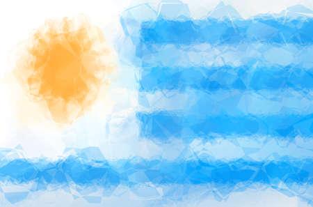 uruguay flag: Uruguay flag - triangular polygonal pattern