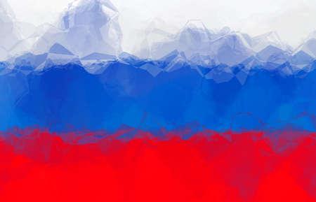 russian: Russian flag - triangular polygonal pattern