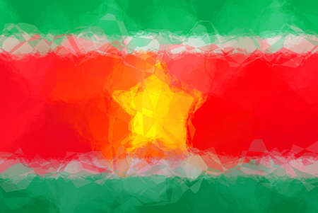 suriname: Suriname flag - triangular polygonal pattern