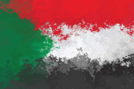sudan: Sudan flag - grunge design pattern Stock Photo