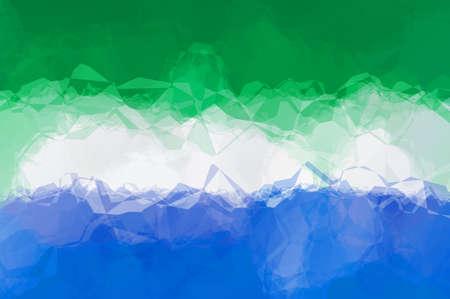 triangular: Sierra-Leone flag - triangular polygonal pattern