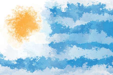 bandera de uruguay: Bandera de Uruguay - patrón de diseño del grunge Foto de archivo