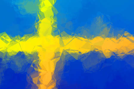 swedish: Swedish flag - triangular polygonal pattern Stock Photo