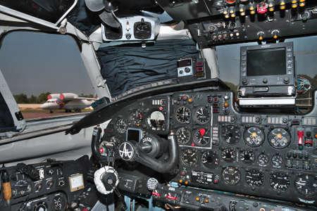 altimeter: Kiev, Ukraine - July 7, 2012: Classic plane cockpit instrument panel Editorial