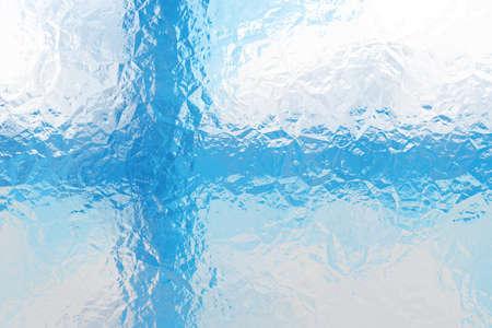 finnish: Finnish flag - triangular polygonal pattern of crumpled shiny metal surface Stock Photo