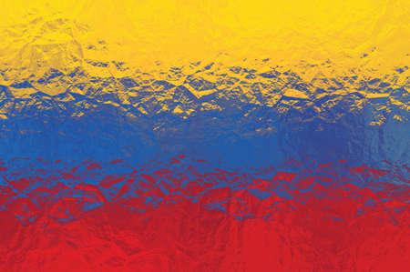 venezuela flag: Bandera de Venezuela - patr�n poligonal triangular de la superficie de metal brillante arrugado