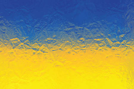ukrainian flag: Ukrainian flag - triangular polygonal pattern of crumpled shiny metal surface Stock Photo