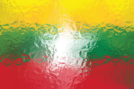 shiny metal: Myanmar flag - triangular polygonal pattern of crumpled shiny metal surface Stock Photo
