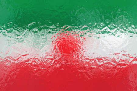iranian: Iranian flag - triangular polygonal pattern of crumpled shiny metal surface