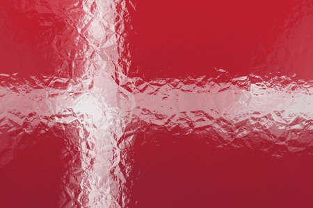 shiny metal: Danish flag - triangular polygonal pattern of crumpled shiny metal surface Stock Photo