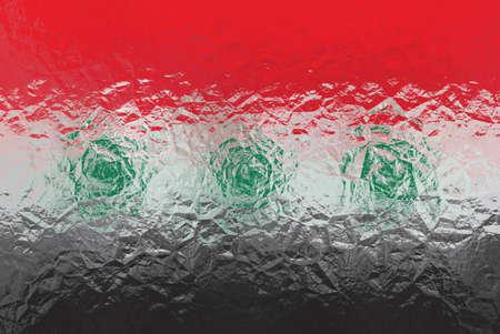 iraqi: Iraqi flag - triangular polygonal pattern of crumpled shiny metal surface