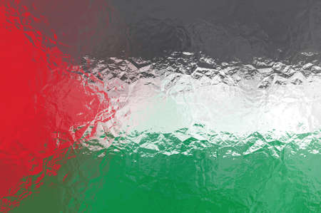 palestinian: Palestinian flag - triangular polygonal pattern of crumpled shiny metal surface