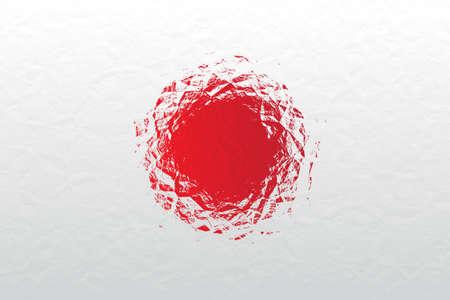 bandera japon: bandera japonesa - modelo poligonal triangular de la superficie de metal brillante arrugado