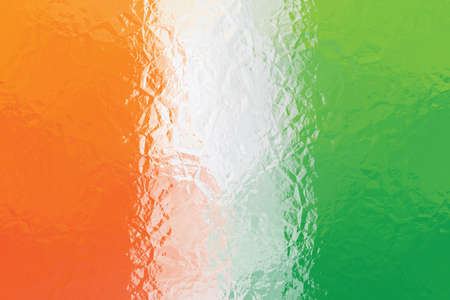 shiny metal: Cote dIvoire flag - triangular polygonal pattern of crumpled shiny metal surface