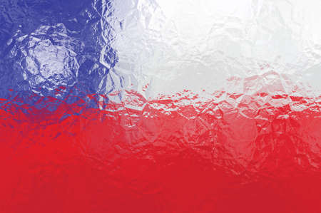 chile flag: Chile flag - triangular polygonal pattern of crumpled shiny metal surface