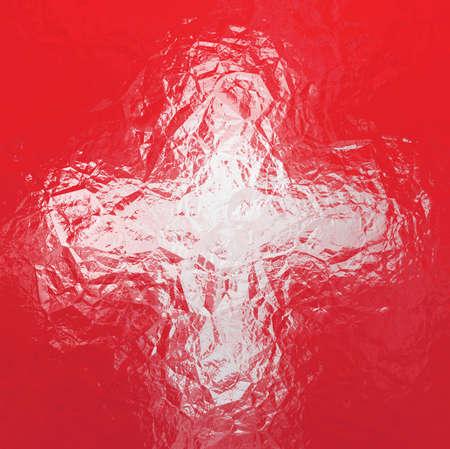 swiss: Swiss flag - triangular polygonal pattern of crumpled shiny metal surface