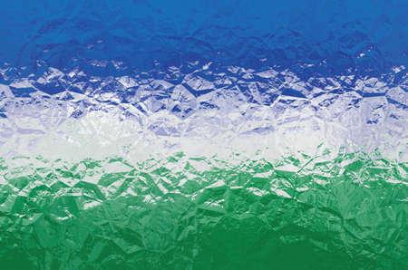 shiny metal: Uzbekistan flag - triangular polygonal pattern of crumpled shiny metal surface Stock Photo